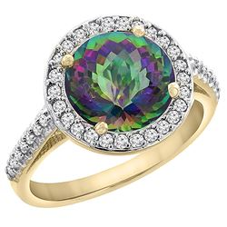 2.44 CTW Mystic Topaz & Diamond Ring 10K Yellow Gold - REF-57R3H