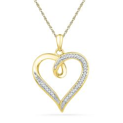 1/10 CTW Womens Round Diamond Heart Pendant 10kt Yellow Gold - REF-21H8R
