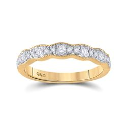 1/3 CTW Womens Round Diamond Band Ring 14kt Yellow Gold - REF-43Y2N
