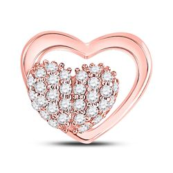 1/6 CTW Womens Round Diamond Heart Pendant 10kt Rose Gold - REF-12W2H
