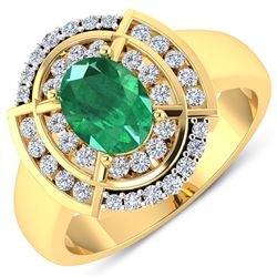 Natural 2.67 CTW Zambian Emerald & Diamond Ring 14K Yellow Gold - REF-71H2M