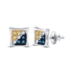 1/20 CTW Mens Round Blue Yellow Color Enhanced Diamond Square Kite Earrings 10kt White Gold - REF-8F