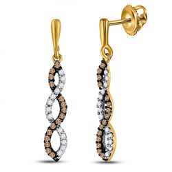 1/5 CTW Womens Round Brown Diamond Twist Dangle Earrings 10kt Yellow Gold - REF-13X5T