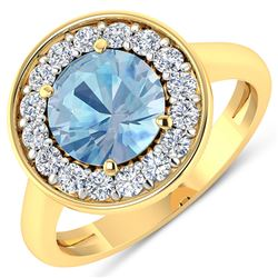 Natural 1.98 CTW Aquamarine & Diamond Ring 14K Yellow Gold - REF-79M7T