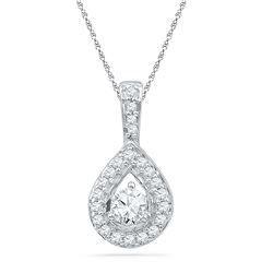 1/3 CTW Womens Round Diamond Teardrop Pendant 10kt White Gold - REF-29T9V