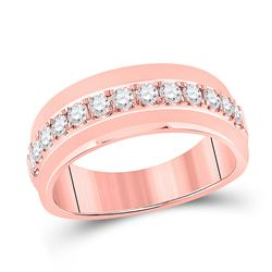 3/4 CTW Mens Round Diamond Wedding Single Row Band Ring 14kt Rose Gold - REF-102Y3N