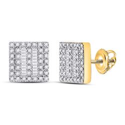 1/3 CTW Womens Baguette Diamond Square Earrings 10kt Yellow Gold - REF-31R4X