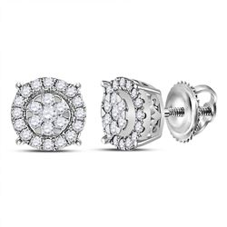 1/4 CTW Womens Round Diamond Circle Halo Cluster Earrings 14kt White Gold - REF-29W9H