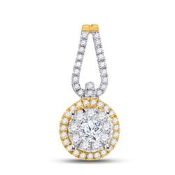 1/2 CTW Womens Round Diamond Halo Solitaire Pendant 14kt Yellow Gold - REF-45R2X