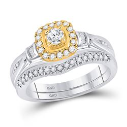 1/2 CTW Round Diamond Bridal Wedding Ring 10kt Two-tone Gold - REF-54M5F