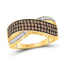 3/4 CTW Womens Round Brown Diamond Crossover Band Ring 10kt Yellow Gold - REF-29H4R