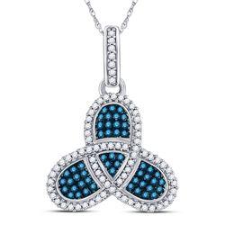 3/8 CTW Womens Round Blue Color Enhanced Diamond Triquetra Pendant 10kt White Gold - REF-27W3H