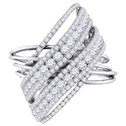 2 & 1/2 CTW Womens Round Diamond Crossover Open Strand Cocktail Ring 10kt White Gold - REF-188A2M