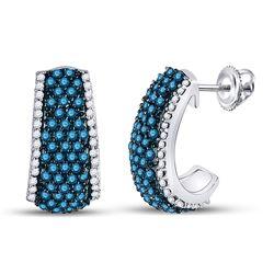 1 & 1/2 CTW Womens Round Blue Color Enhanced Diamond Half J Hoop Earrings 10kt White Gold - REF-68Y2