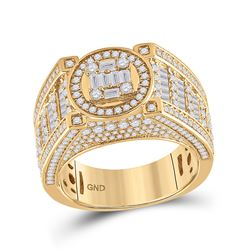 2 & 3/8 CTW Mens Baguette Diamond Circle Cluster Ring 14kt Yellow Gold - REF-190V8Y