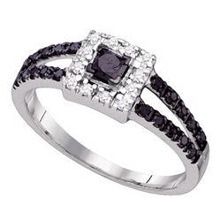 5/8 CTW Princess Black Color Enhanced Diamond Bridal Wedding Ring 10kt White Gold - REF-22W5H