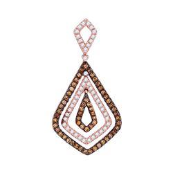 1/2 CTW Womens Round Brown Diamond Fashion Pendant 10kt Rose Gold - REF-31N4A