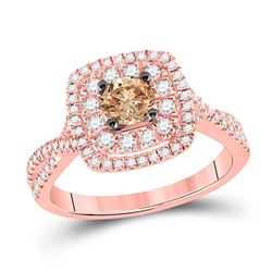 7/8 CTW Round Brown Diamond Solitaire Bridal Wedding Engagement Ring 14kt Rose Gold - REF-105W7H