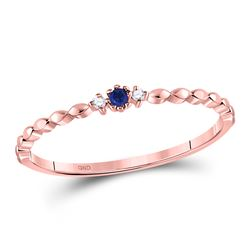 0.03 CTW Womens Round Blue Sapphire Diamond Stackable Band Ring 10kt Rose Gold - REF-9V5Y