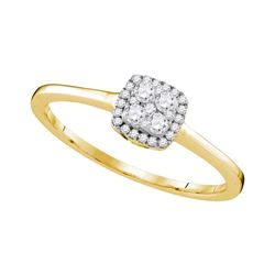 1/5 CTW Womens Round Diamond Square Cluster Ring 10kt Yellow Gold - REF-22F5W