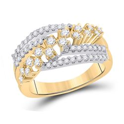 3/4 CTW Womens Round Diamond Crossover Strand Band Ring 10kt Yellow Gold - REF-61F4W
