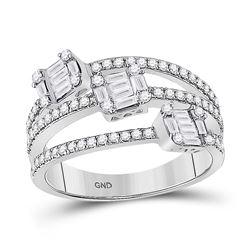 3/4 CTW Womens Baguette Diamond Triple Cluster Fashion Ring 14kt White Gold - REF-87T8V