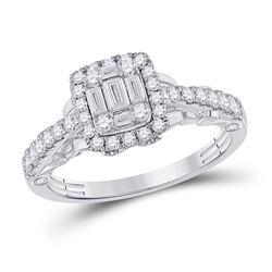 3/4 CTW Womens Baguette Diamond Square Ring 14kt White Gold - REF-81F7W