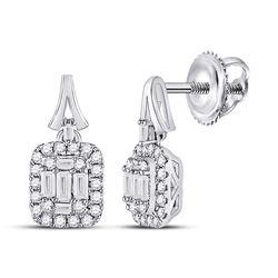 1/2 CTW Womens Baguette Diamond Square Dangle Earrings 14kt White Gold - REF-51Y7N
