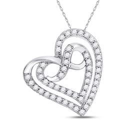 1/3 CTW Womens Round Diamond Infinity Heart Pendant 10kt White Gold - REF-23M3F