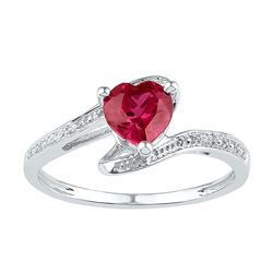 1 CTW Womens Heart Lab-Created Ruby Solitaire Ring 10kt White Gold - REF-12M2F