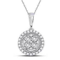 1/10 CTW Womens Round Diamond Fashion Halo Cluster Pendant 10kt White Gold - REF-13W5H