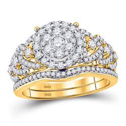 1 CTW Round Diamond Bridal Wedding Ring 14kt Yellow Gold - REF-133H5R