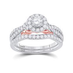 1 CTW Round Diamond Bridal Wedding Ring 14kt Two-tone Gold - REF-136M4F
