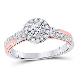 1/2 CTW Round Diamond Halo Bridal Wedding Engagement Ring 10kt Two-tone Gold - REF-53A2M