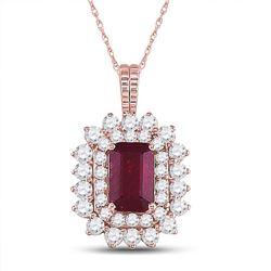 7/8 CTW Womens Emerald Ruby Diamond Halo Pendant 14kt Rose Gold - REF-51Y2N