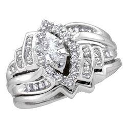 1/2 CTW Marquise Diamond Bridal Wedding Ring 14kt White Gold - REF-82F5W