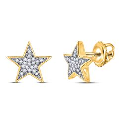1/10 CTW Womens Round Diamond Star Earrings 10kt Yellow Gold - REF-12N2A