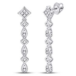 1/5 CTW Womens Round Diamond Square Teardrop Dangle Earrings 14kt White Gold - REF-40Y8N