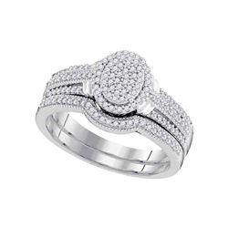 3/8 CTW Round Diamond Bridal Wedding Ring Band Set 10kt White Gold - REF-41M6F