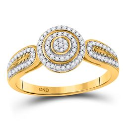 1/5 CTW Round Diamond Cluster Bridal Wedding Engagement Ring 10kt Yellow Gold - REF-23Y3N