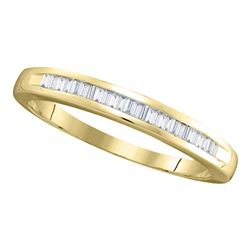 1/4 CTW Womens Baguette Diamond Wedding Band Ring 14kt Yellow Gold - REF-26W5H