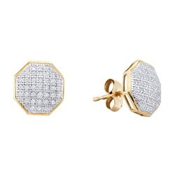 1/5 CTW Womens Round Diamond Octagon Cluster Earrings 10kt Yellow Gold - REF-17V6Y
