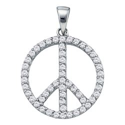 3/4 CTW Womens Round Diamond Peace Sign Circle Pendant 14kt White Gold - REF-50T4V