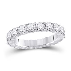 3 CTW Womens Round Diamond Eternity Wedding Band Ring 14kt White Gold - REF-409H3R