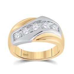 1 CTW Mens Round Diamond 5-Stone Band Ring 14kt Yellow Gold - REF-172V5Y