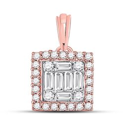 1/5 CTW Womens Baguette Round Diamond Square Pendant 14kt Rose Gold - REF-26W6H