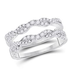1/2 CTW Womens Round Diamond Wrap Ring 14kt White Gold - REF-74A2M