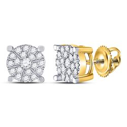 1/3 CTW Womens Round Diamond Halo Cluster Earrings 10kt Yellow Gold - REF-24R5X