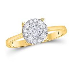 2 CTW Princess Diamond Cluster Bridal Wedding Engagement Ring 14kt Yellow Gold - REF-274X6T