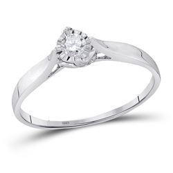 1/12 CTW Womens Round Diamond Solitaire Promise Ring 10kt White Gold - REF-15R2X